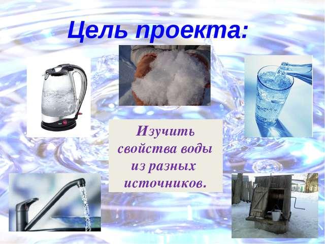 Цель проекта: Изучить свойства воды из разных источников.