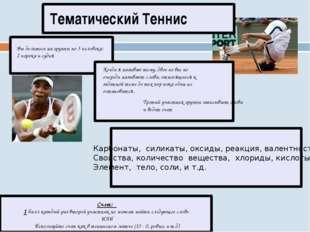 Тематический Теннис Счет: 1 балл каждый раз второй участник не может найти с