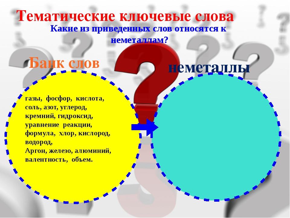 Тематические ключевые слова Какие из приведенных слов относятся к неметаллам?...