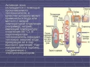 Активная зона охлаждается с помощью прокачиваемого теплоносителя, в качестве