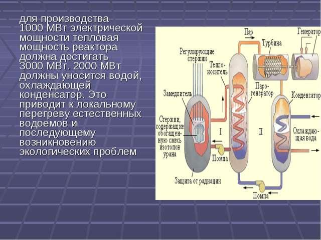 для производства 1000МВт электрической мощности тепловая мощность реактора д...