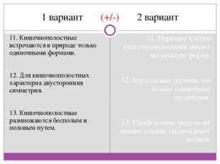 1 вариант (+/-) 2 вариант 11. Кишечнополостные встречаются в природе только о