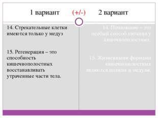 1 вариант (+/-) 2 вариант 14. Стрекательные клетки имеются только у медуз 15.