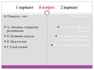 1 вариант 8 вопрос 2 вариант 8. Планула – это: A. Личинка, покрытая ресничкам