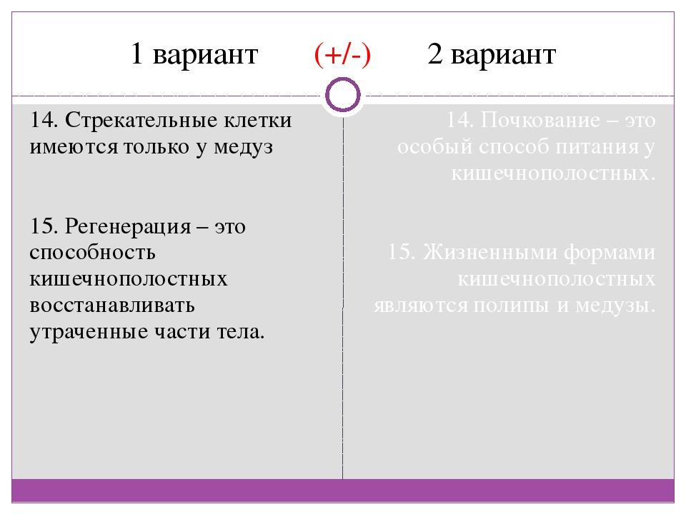 1 вариант (+/-) 2 вариант 14. Стрекательные клетки имеются только у медуз 15....