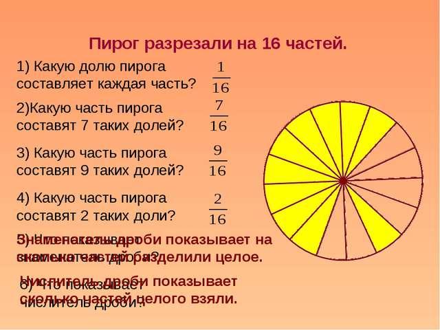 Пирог разрезали на 16 частей. 1) Какую долю пирога составляет каждая часть? 2...