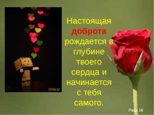 Настоящая доброта рождается в глубине твоего сердца и начинается с тебя самог