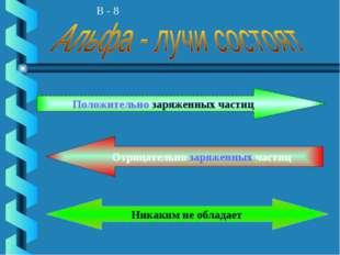 В - 8 Положительно заряженных частиц Отрицательно заряженных частиц Никаким н