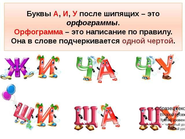 Буквы А, И, У после шипящих – это орфограммы. Орфограмма – это написание по п...