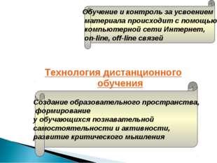 Технология дистанционного обучения Обучение и контроль за усвоением материала