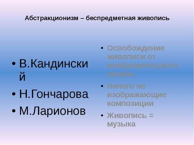 Абстракционизм – беспредметная живопись В.Кандинский Н.Гончарова М.Ларионов О...