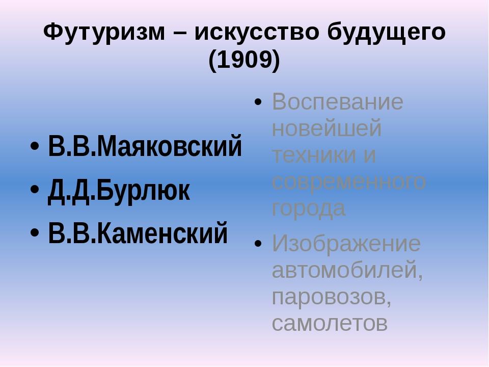Футуризм – искусство будущего (1909) В.В.Маяковский Д.Д.Бурлюк В.В.Каменский...