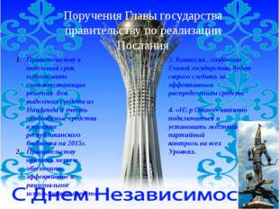 Поручения Главы государства правительству по реализации Послания Правительств