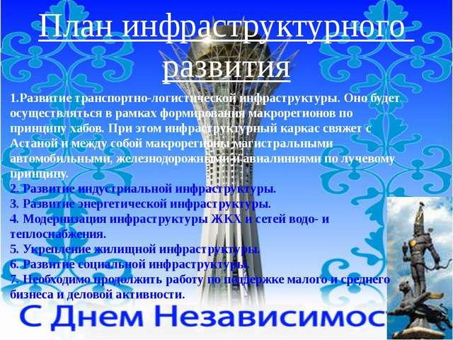 План инфраструктурного развития 1.Развитие транспортно-логистической инфрастр...