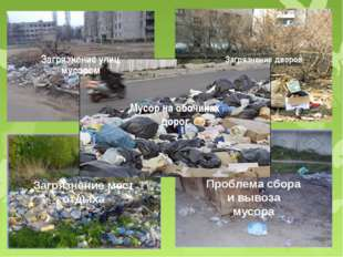 Загрязнение улиц мусором Загрязнение дворов Загрязнение мест отдыха Проблема