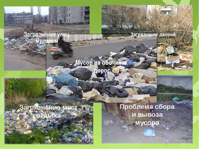 Загрязнение улиц мусором Загрязнение дворов Загрязнение мест отдыха Проблема...