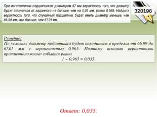 Решение: По условию, диаметр подшипника будет находиться в пределах от 66,99