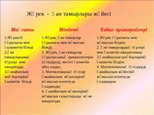 Жүрек - қан тамырлары жүйесі МақсатыМіндетіТабыс критерийлері 1.Жүректің құ