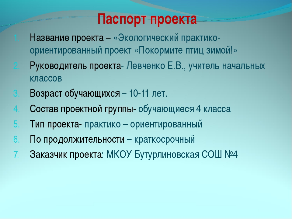 Паспорт проекта Название проекта – «Экологический практико- ориентированный п...