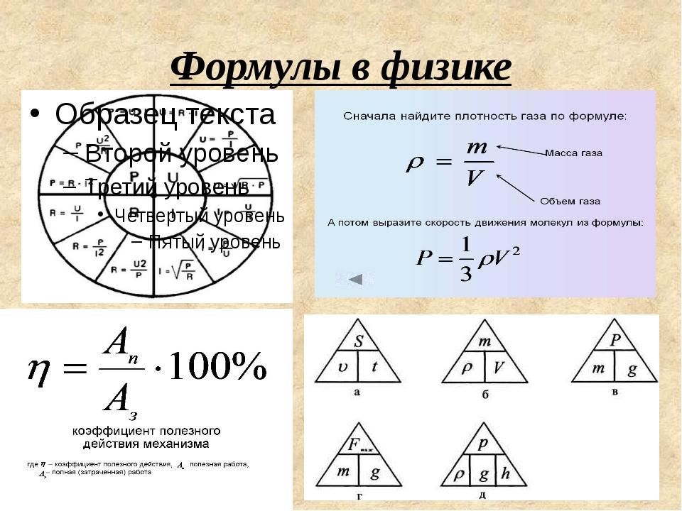 Формулы в физике