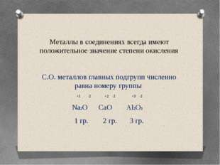 Металлы в соединениях всегда имеют положительное значение степени окисления