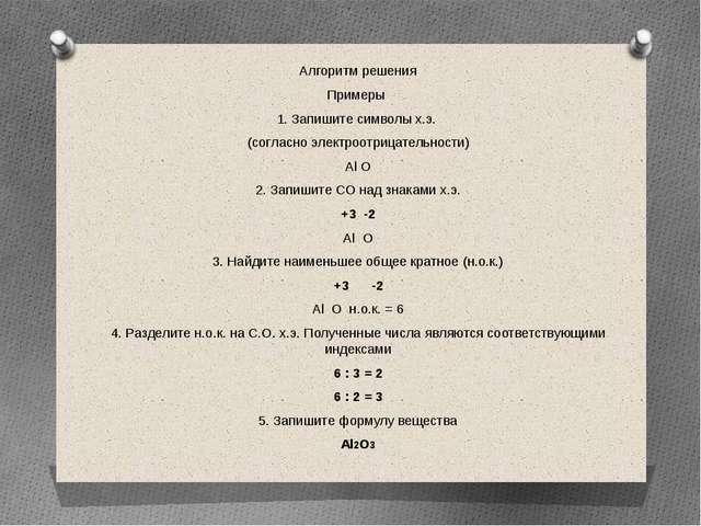 Алгоритм решения Примеры 1. Запишите символы х.э. (согласно электроотрицатель...