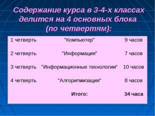Содержание курса в 3-4-х классах делится на 4 основных блока (по четвертям):