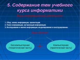 5. Содержание тем учебного курса информатики Виды информационной деятельности