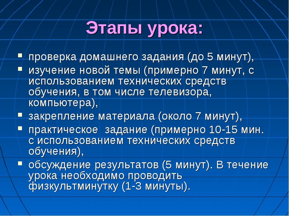 Этапы урока: проверка домашнего задания (до 5 минут), изучение новой темы (пр...