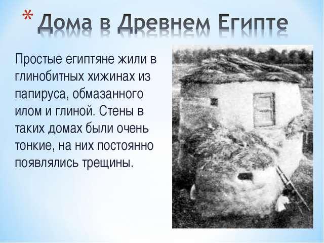 Простые египтяне жили в глинобитных хижинах из папируса, обмазанного илом и г...