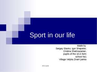 Sport in our life Made by Sergey Slavko, Igor Shepelev, Cristina Shahnazarian