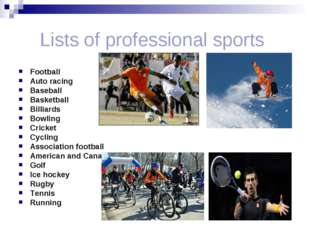 Lists of professional sports Football Auto racing Baseball Basketball Billia