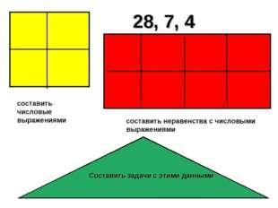 28, 7, 4 составить неравенства с числовыми выражениями составить числовые выр