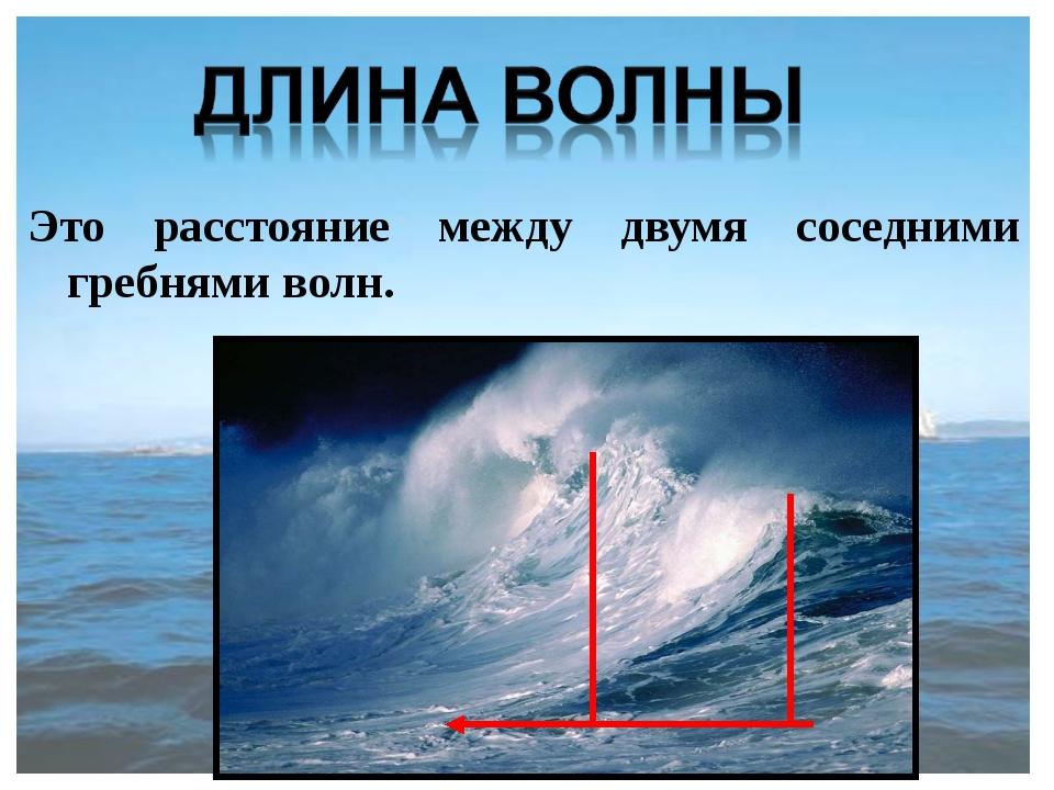 Это расстояние между двумя соседними гребнями волн.