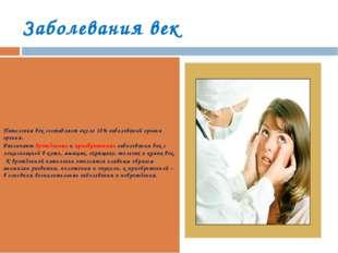 Заболевания век Патология век составляет около 10% заболеваний органа зрения.