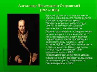 Александр Николаевич Островский (1823-1886) Будущий драматург, основоположни