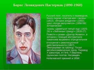 Борис Леонидович Пастернак (1890-1960) Русский поэт, писатель и переводчик. К