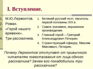 I. Вступление. М.Ю.Лермонтов. Роман. «Герой нашего времени». Три рассказчика.