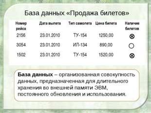 База данных «Продажа билетов» База данных – организованная совокупность данны