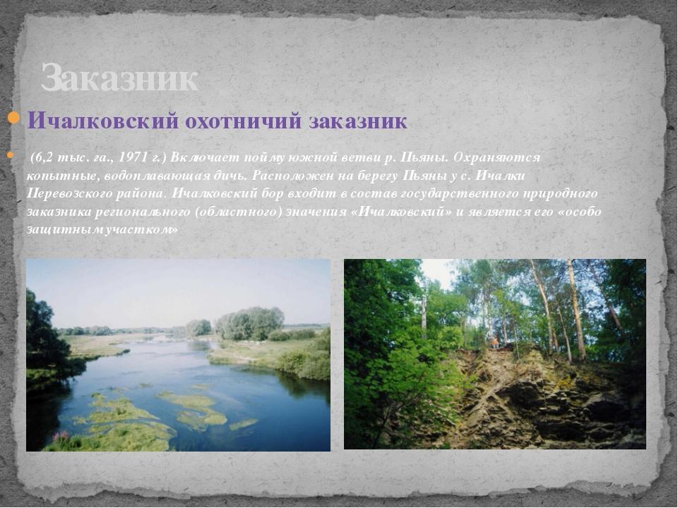 Ичалковский охотничий заказник (6,2 тыс. га., 1971 г.) Включает пойму южной в...