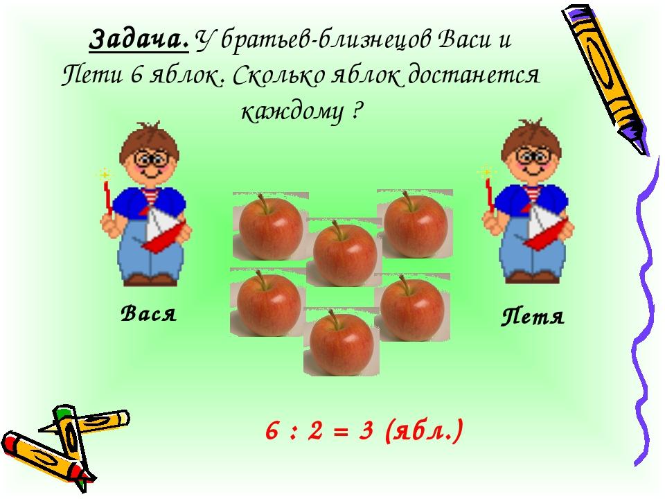 Задача. У братьев-близнецов Васи и Пети 6 яблок. Сколько яблок достанется каж...