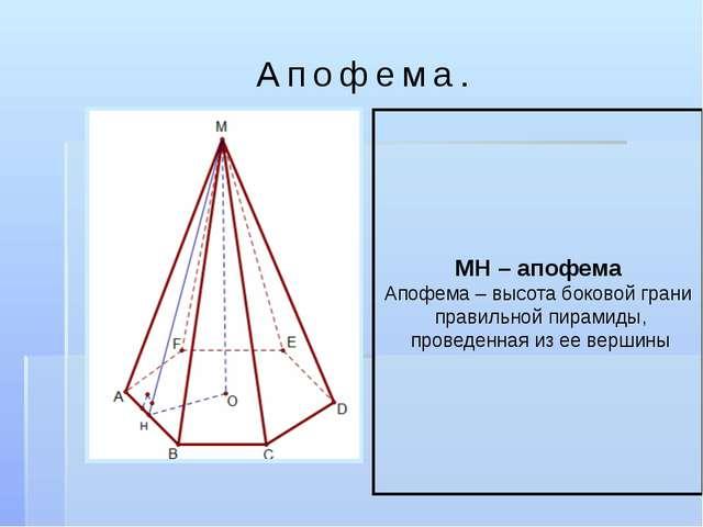 Апофема. МН – апофема Апофема – высота боковой грани правильной пирамиды, про...