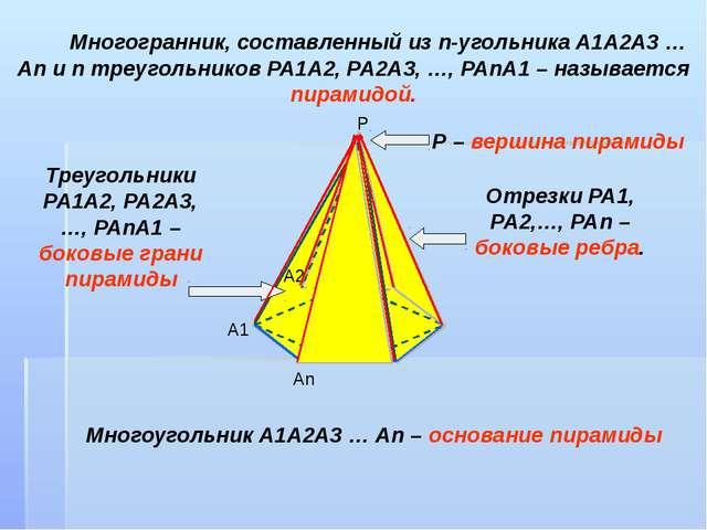 Многогранник, составленный из n-угольника А1А2А3 … Аn и n треугольников РА1А...