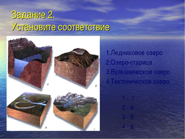 Задание 2. Установите соответствие 1.Ледниковое озеро 2.Озеро-старица 3.Вулка...