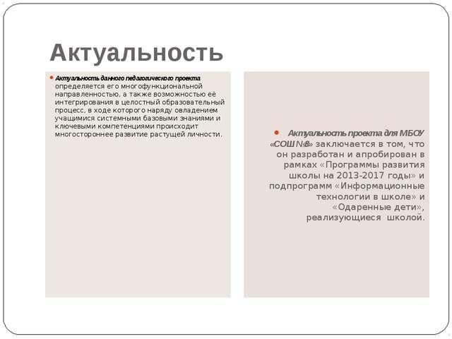Актуальность Актуальность данного педагогического проекта определяется его мн...