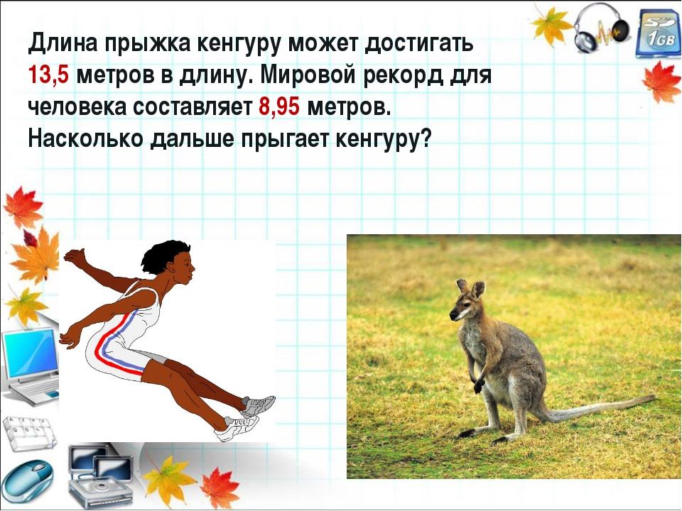 Длина прыжка кенгуру может достигать 13,5 метров в длину. Мировой рекорд для...