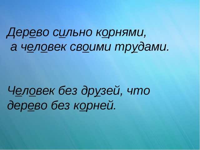 Дерево сильно корнями, а человек своими трудами. Человек без друзей, что дере...