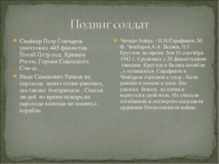 Снайпер Петр Гончаров уничтожил 445 фашистов. Погиб Петр под Кривым Рогом, Ге