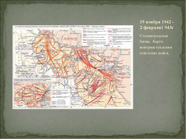 Сталинградская битва. Карта контрнаступления советских войск. 19 ноября 1942...