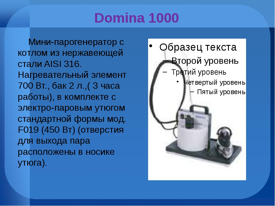 Domina 1000 Мини-парогенератор с котлом из нержавеющей стали AISI 316. Нагрев...